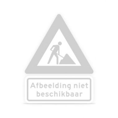 Tekstbord a/r3/dor 80x40 cm geel met tekst: in-/uitrit bouwverkeer