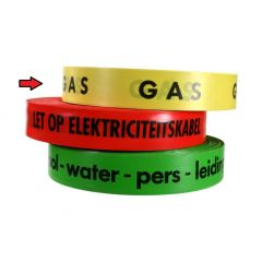 Waarschuwingsband tekst: GAS geel per rol 250 m