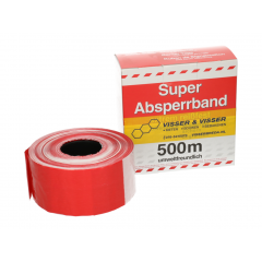 Afzetband rood/wit per rol 500 m