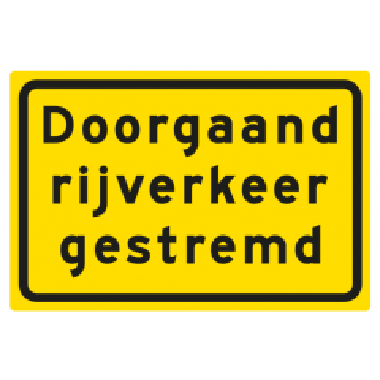 Tekstbord pvc/lak/vlak 60x40cm DRG Doorgaand rijverkeer gestremd