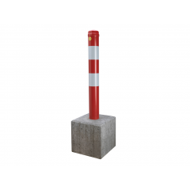 Anti-parkeerpaal model 90 rood/wit vast Ø 90 mm met poer